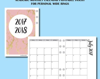 PERSONAL WIDE Rings Size: July 2017 - June 2018 Monthly Academic Calendar Printable Insert