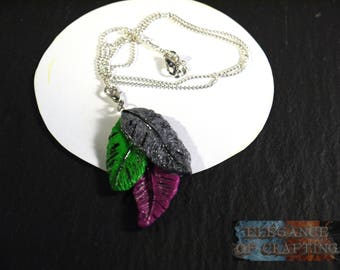 Necklace, Feather, Clay, grey, green, purple, 93