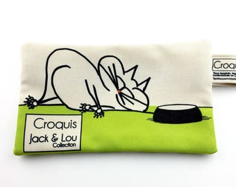 Pouch/green / pouch with cat / pencil case / make-up bag / Tote / sketch fabrics