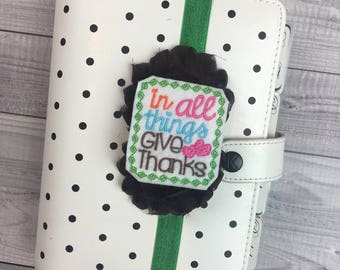 Give Thanks Planner Band: Green and Brown, Elastic, Notebook and Planner Closure, Perfect for EC, Mambi, Kikki K, Filofax, & more!