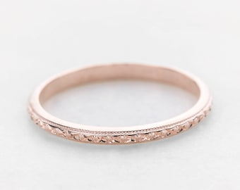 rose gold vintage wedding band antique edwardian wedding ring for women 1920s art deco style - Vintage Wedding Ring