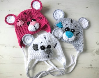 Made To order/ Crochet Baby Hat/ Teddy Bear Baby Hat/ Funny Hat
