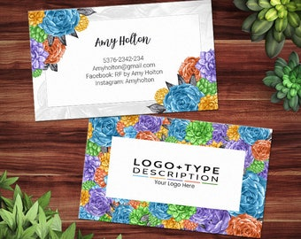 Rodan + Fields Business Cards, Rodan and Fields Independent Consultant, RF Calling Card, Succulents Collection