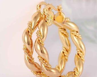 Ladies 18K Gold Plated Creole Wave & Twist Hoop Womens Earrings