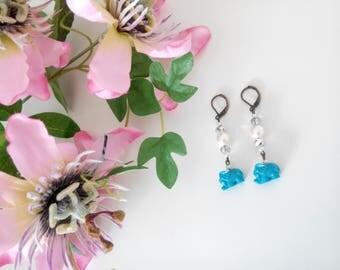 Silver, Pearl and Blue Elephant Dangle Earrings
