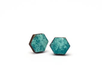 Studs honeycomb wood blue/Mint in 2 sizes