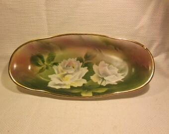 Beautiful handpainted vintage German oval dish, CT Altwasser Silesia, signed