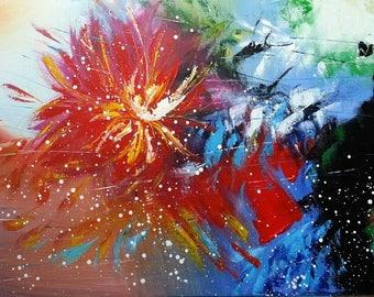 Dahlias flowers romantic painting
