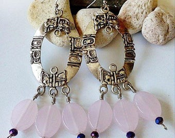 Mayan Earrings, Gift for her, Mayan Jewelry, pink quartz, Honduras, Exotic Jewelry, Just for you.