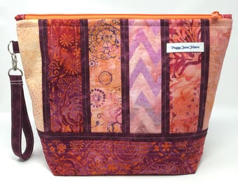 CUSTOM ORDER Knitting Project Bag with Detachable Handle - Large Size