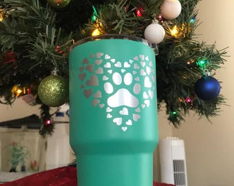 Paw Print in Hearts Tumbler