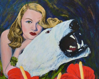 Original acrylic painting on canvas Veronica Lake 1940s Hollywood polar bear noirscapes retro pulp art red pinup hunting Jane Ianniello