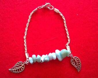 beads silver metal leaf turquoise chips bracelet