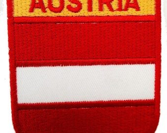 Patch/Ironing-Austria flag-red/white-6 x 7 cm-by catch-the-Patch ® patch appliqué applications for ironing application patches patch
