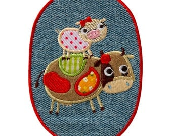 Patch/ironing-Children's jeans patch cows-coloured-9.8 x 7.1 cm-by catch-the-Patch ® patch appliqué applications for ironing application patches patch