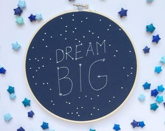 Dream big constellation embroidery hoop - galaxy nursery - dream big sign - constellation hoop
