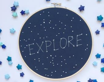 Explore constellation embroidery hoop - galaxy nursery - constellation hoop