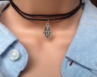 Black Choker, Hamsa Choker, Hamsa Necklace, Double Choker, Leather Choker, Hamsa Hand Necklace, Choker Necklace Silver, Boho Jewelry