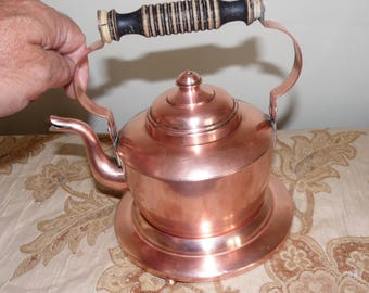 Antique Swedish Copper Teapot & Warming Stand