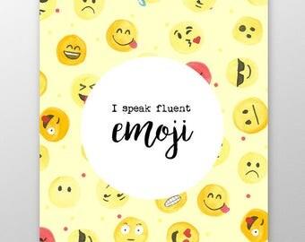 Emoji Movie Print, University Gift, Uni Gift, Fluent Emoji Poster, I Speak Fluent Emoji, Gift For Teenager, Uni Decor, Emoji Decor