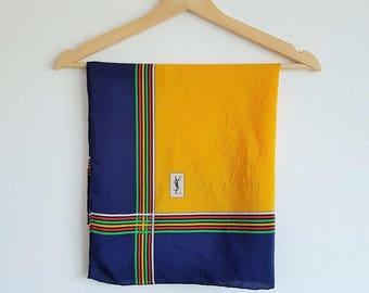 Vintage YSL scarf | Yellow, blue & multi-colour geometric pattern