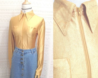 """Gold costume XS / S """"Morgan"""" gold shimmer zipper vintage blouse, long sleeve shirt for women, us size 4 6, saturday night fever 90s clothing"""