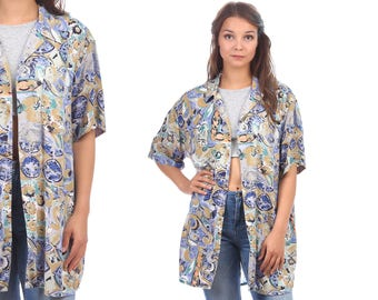 ABSTRACT Hawaii Shirt Vintage 90s Oversized Shirt Yellow Blue Geometric Patterned 1990s Summer Shirt Men Women size XL