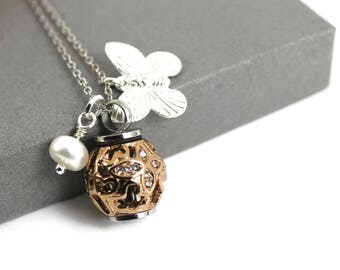 Hollow Butterfly and Freshwater Pearl Urn Necklace, Memorial Jewellery,  Cremation Jewelry, Always in my Heart Urn Necklace