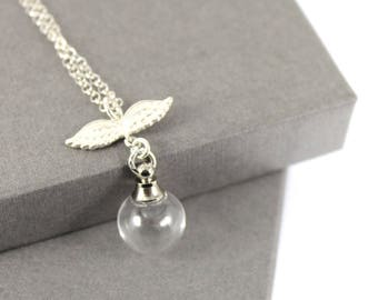 Sterling Silver Angel Wing Fillable Glass Orb, Memorial Jewellery, Urn Locket, Fillable Jewelry, Cremation necklace