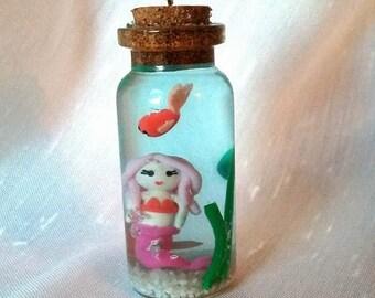 Mermaid Glass Bottle - Charm - Polymer clay - Handmade