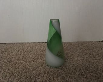Green and white miniature vase