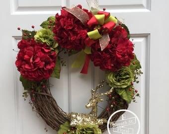 Christmas Wreath, Hydrangea Wreath, Deer Antler Wreath, Font Door Wreath, Wreath Street Floral, Grapevine Wreath, Red Wreath, Door Wreath