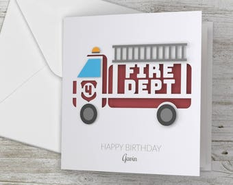 Personalized / Personalised Happy Birthday 3D Card Fire Truck/ Fire Engine