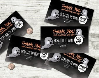 Halloween Scratch Off Card - 5 cards, fully customizable ghosts