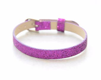 1 Purple customize glitter leather bracelet