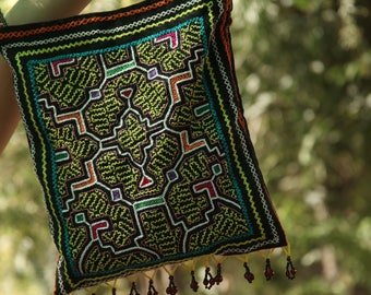 Shipibo Embroidered Medicine Bag Huayruros Beaded