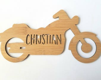 Personalised Name Motorbike-bike-motorcycle-Wooden Wall-Door Hanging-lasercut-bamboo-custom name-wall art-baby gift-kids gift-decor