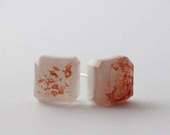 Resin White Square Earrings - ODD PAIR