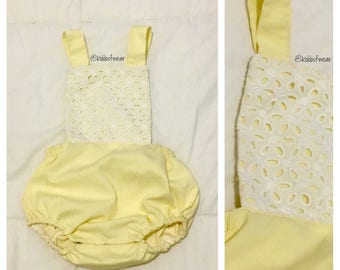 Baby romper, baby outfit , yellow romper , baby clothes, baby bodysuit