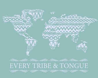 Every Tribe and Tongue Wall Art Teal
