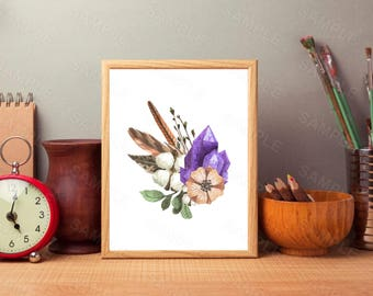Amethyst, Watercolour, Floral, Wall Art Decor Feather, Printable Wall Print, Instant Download
