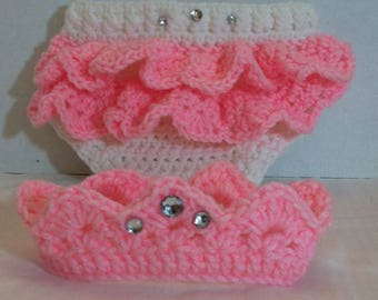 Newborn Crochet Crown And Diaper Cover set, Newborn Crown Photo Prop, Little Princess Crown and Diaper Cover set, Baby Accessories