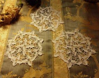 3 old Venetian lace doilies