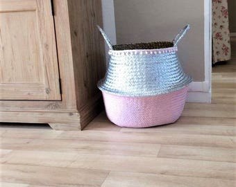 Two-tone XL Thai basket, Wicker, pink pastel and silver with small pompoms