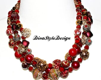 Red Statement Necklace with Maruit Beads, Tibetan Beads, and Crystals