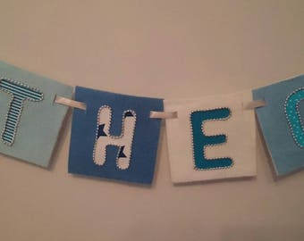 SKY Bright blues white bespoke wall hanging banners for children's rooms, nursery, names, made-to-order with felt and hand-sewn beaded trims