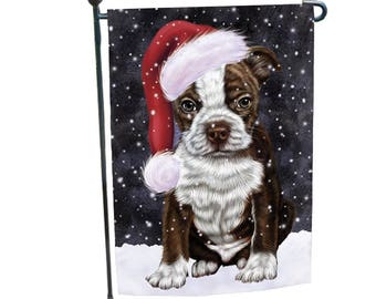 Let It Snow Christmas Holiday Boston Terriers Dog Wearing Santa Hat Garden  Flag 12 1/