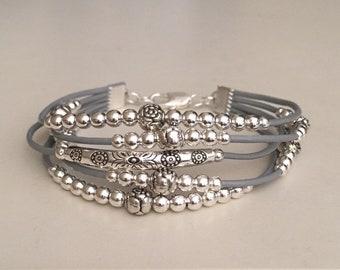 Women's leather bracelet/Beaded leather bracelet/Bohemian jewelry/Boho bracelet/Silver plated leather bracelet/Fashion jewelry