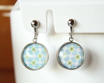 earring clips silver cabochon
