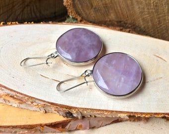 Earrings Amethyst Silver round purple purple gemstone earrings